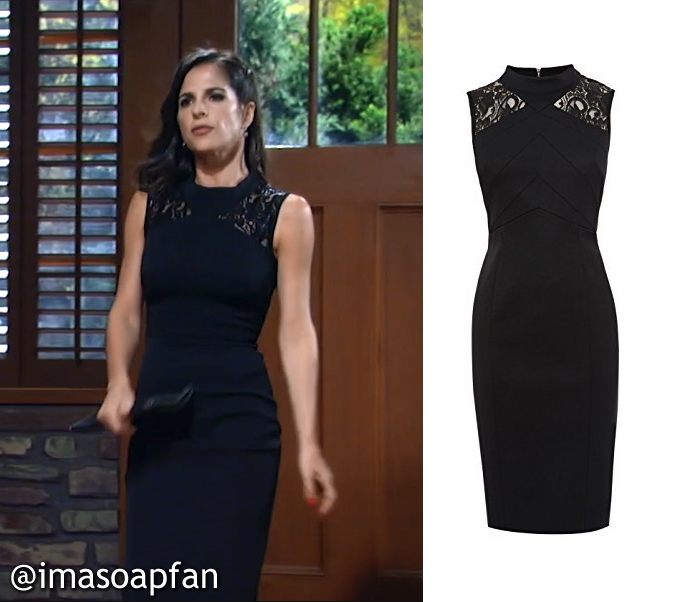 Sam Morgan's Black Lace Panel Dress - General Hospital, Season 54, Episode 08/19/16