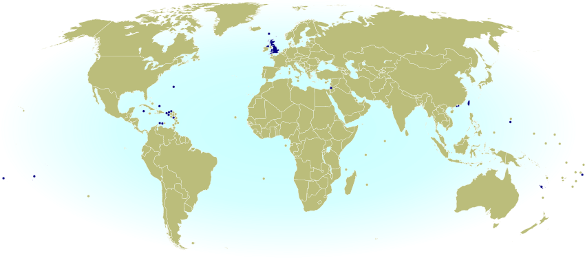 World map marking dependent territories, partially recognized sovereign states, and subnational entities that have national football (soccer) teams recognized by FIFA, making them eligible for the World Cup.
