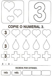 Numeral 3 escrever e colorir