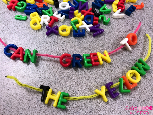 letter beads making sight words on a string