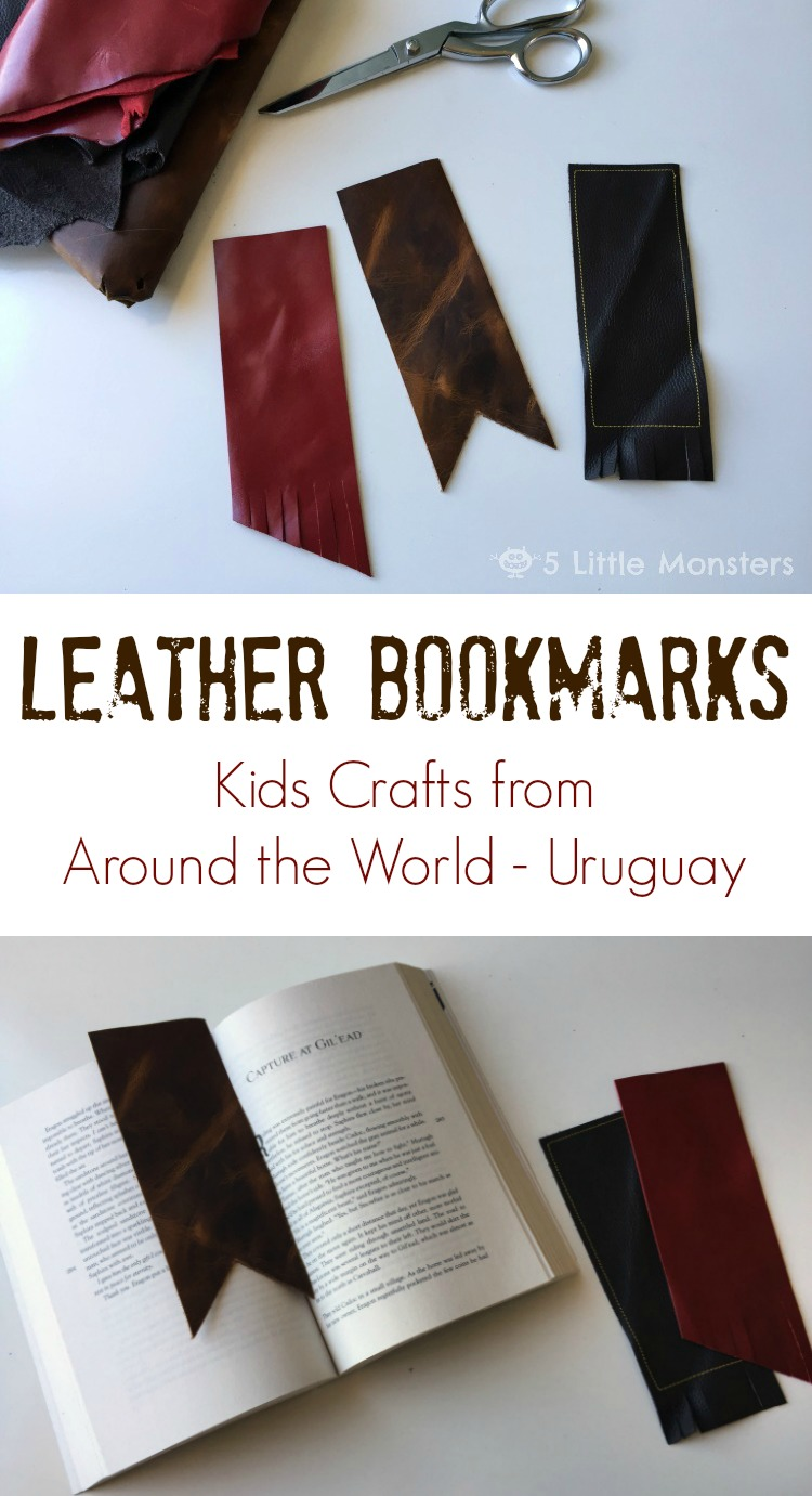 5 Little Monsters Kids Crafts Leather Bookmarks