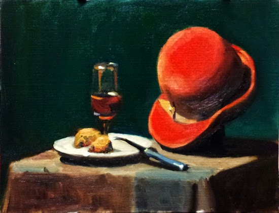 Oil painting of a red women's hat with a fawn-colour band, beside a glass of light red liquid and a plate with two pieces of fruit cake and a blue-handled cheese knife, all on a checked table cloth.