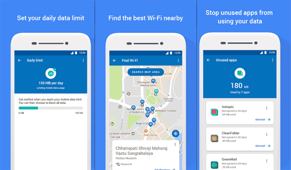 Capturas de Datally app de Google para ahorrar datos móviles
