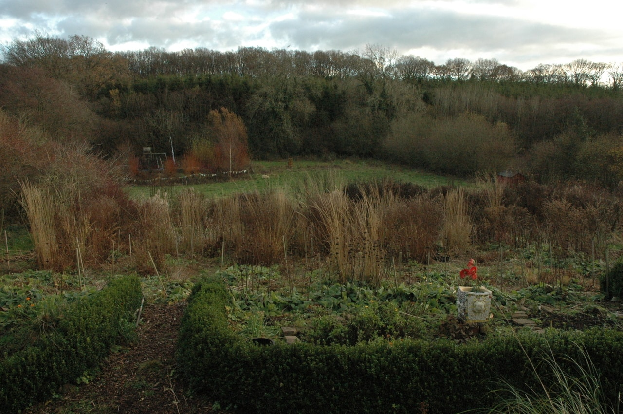 Noel Kingsbury's garden featuring his trial plots and surrounding area in December 2017