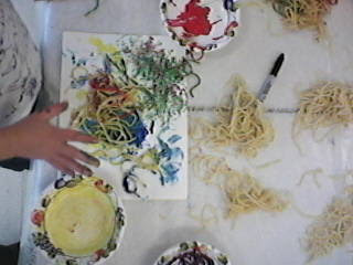 Sensory Play Edible Art Painting with Spaghetti for Preschool and Toddlers