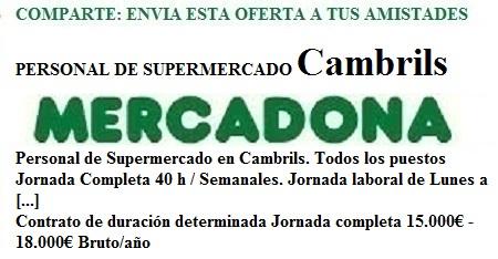 Cambrils, Tarragona, Lanzadera de Empleo Virtual. Oferta Mercadona