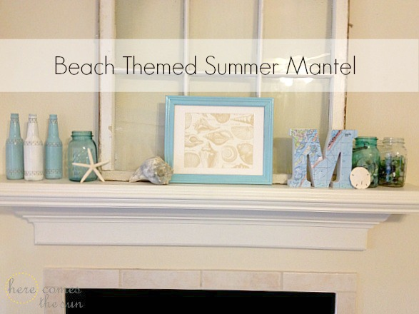 Beach Themed Summer Mantel