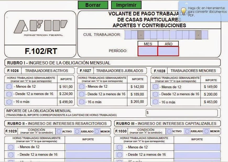 Servicio Doméstico: nuevo Formulario 102/RT INTERACTIVO