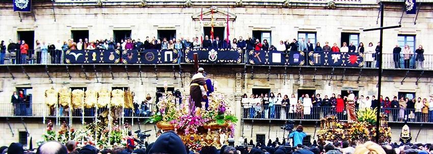 Vista del Encuentro durante la procesión de los Pasos. Viernes Santo. Cofradía de Jesús Nazareno, León. Foto G. Márquez.