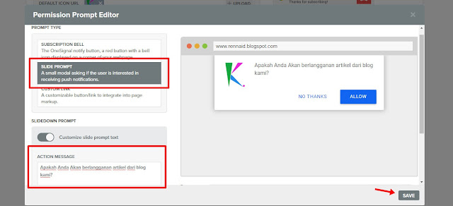 web push notification di blogger- Kored ID