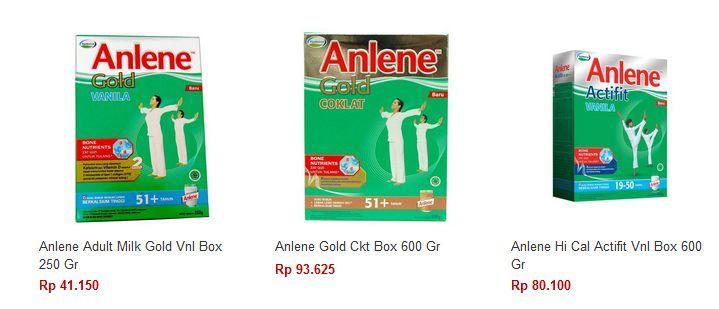 Daftar Harga Susu Anlene Gold, Actifit Untuk Tulang & Sendi