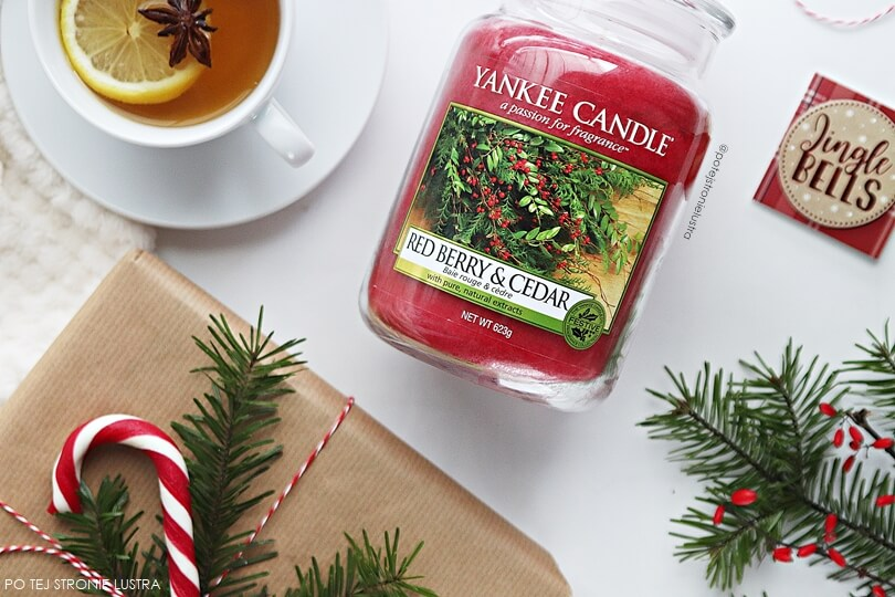 yankee candle red berry & cedar duża świeca zapachowa