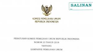 Download PKPU RI Nomor 23 Tahun 2018