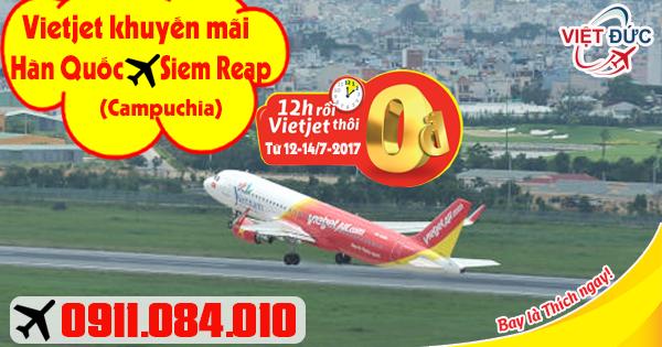 Đại lý bán vé khuyến mãi 0 đồng Vietjet từ Hàn Quốc đi Siem Reap