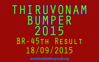 THIRUVONAM BUMPER 2015 Lottery Result 18-9-2015