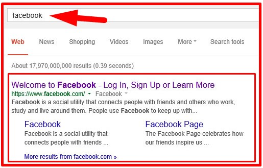 facebook login home page google