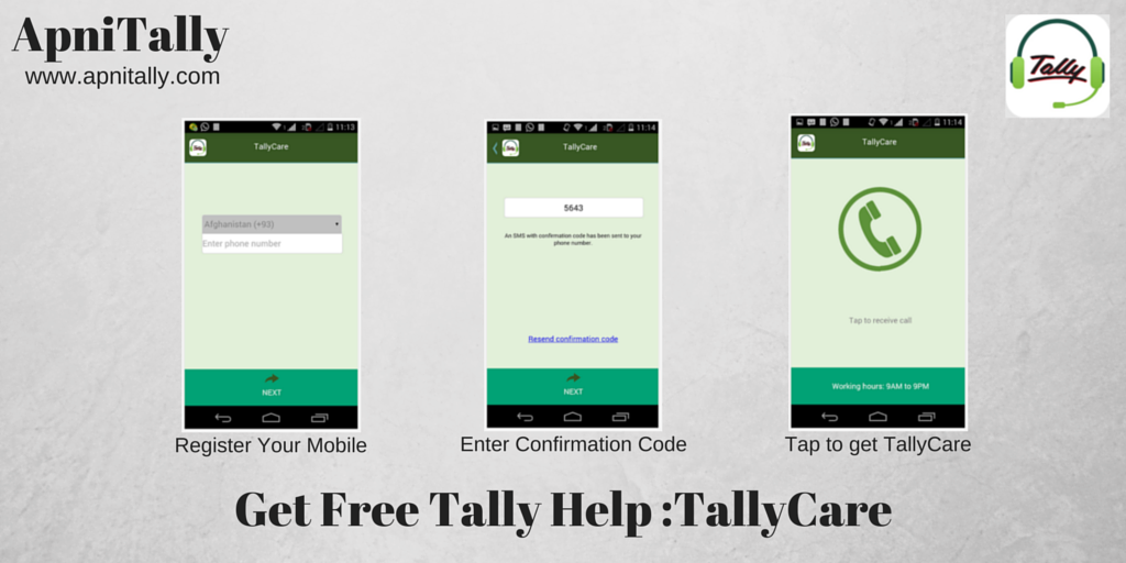 Tally Care : Get call back from Tally to help you out via smart Phone
