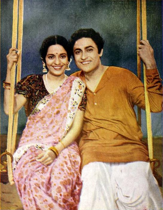Leela and Ashok Kumar in Jhoola, a social picture of the Bombay Talkies Ltd.