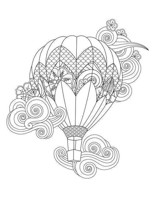 Tranh tô màu khinh khí cầu họa tiết đẹp