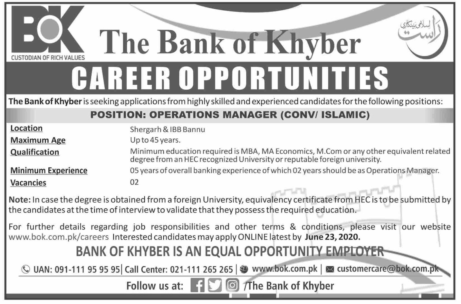 Operations Manager Jobs in The Bank of Khyber BOK in Bannu