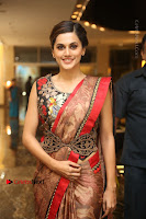 Tapsee Pannu Latest Stills in Red Silk Saree at Anando hma Pre Release Event .COM 0036.JPG