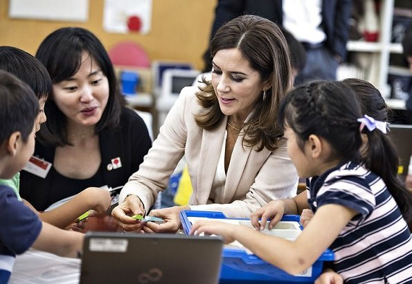 Crown Princess Mary wore Massimo Dutti Pant Suit. visits Funabashi primary school and Design Walk companies