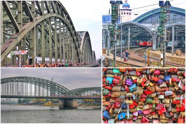 Puente de Hohenzollern sobre el rio Rin – Estacion Central de Colonia Koln – Candados colgados en el Puente de Hohenzollern