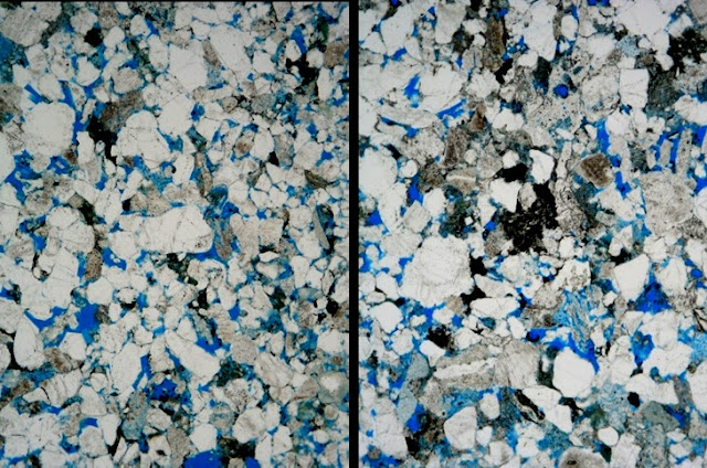 Thin section images of sample ED7583 from Hermand quarry (left) and sample ED11697 from Mercat Cross (right).  The images were taken in plane-polarised light, the field of view in each cases is c.3.3 mm (top to bottom).  The close similarity in minerals and texture leaves little doubt they are the same building stone