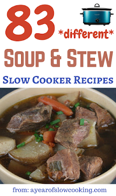 Don't keep making the same soup or stew over and over again! Here are over 80 different soup and stew crockpot slow cooker recipes. Vegetarian, vegan, gluten free, full of meat -- whatever you are looking for, this list has it!