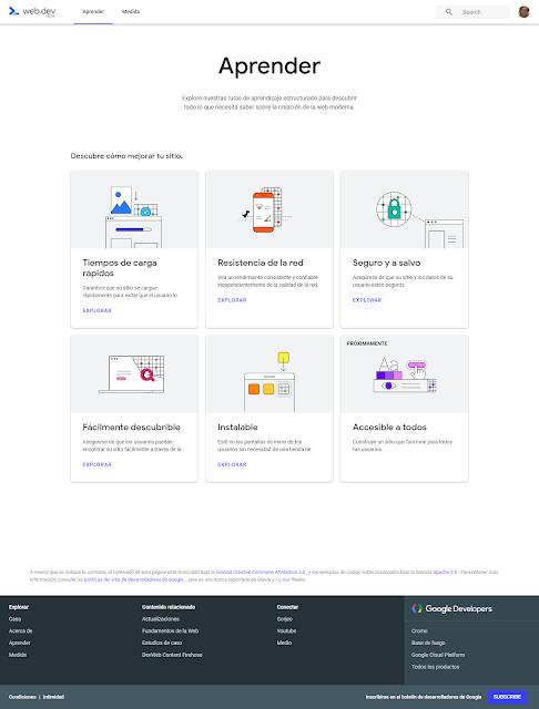 Pagina para aprender el funcionamiento de Web.dev