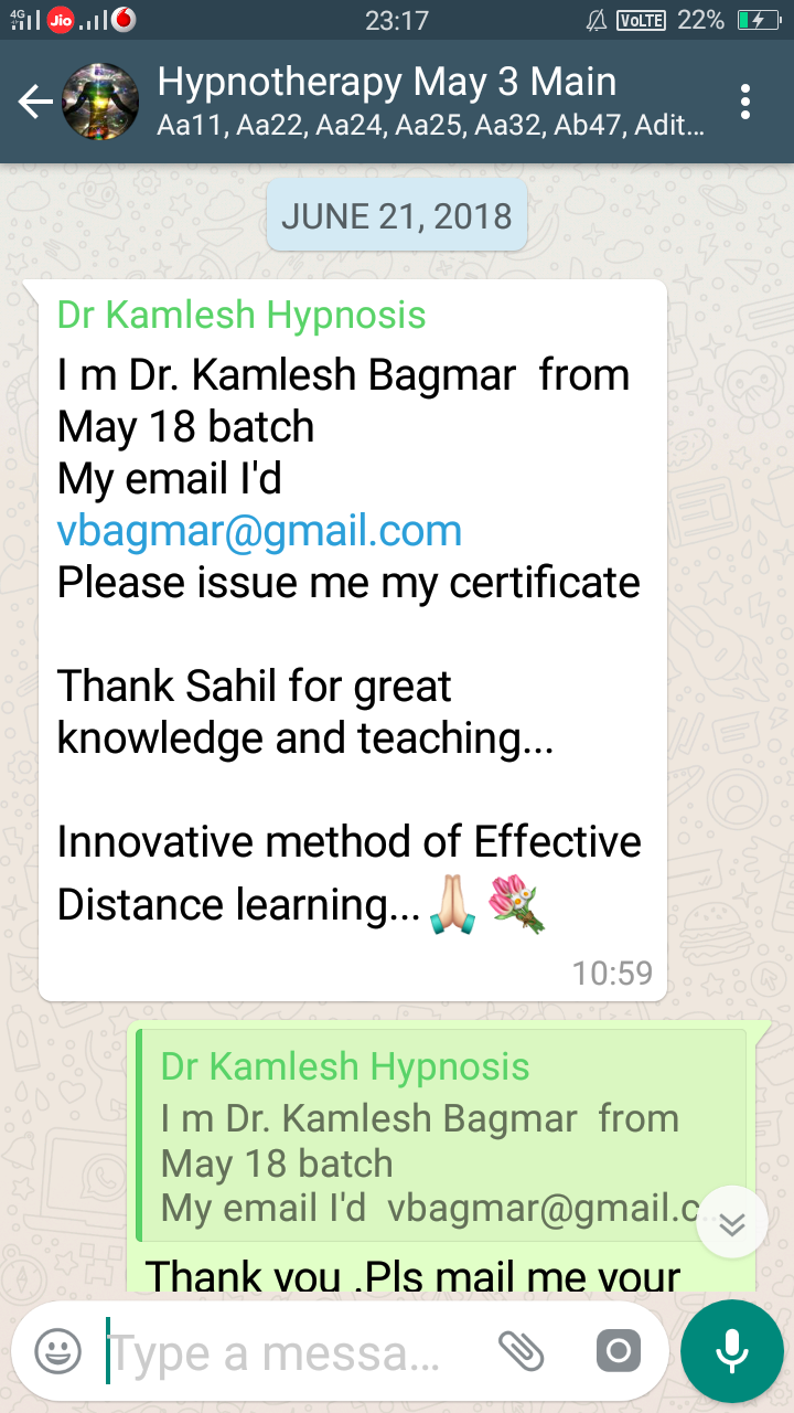 Hypnotherapy Workshop Reviews And Certification Sahil Kothari
