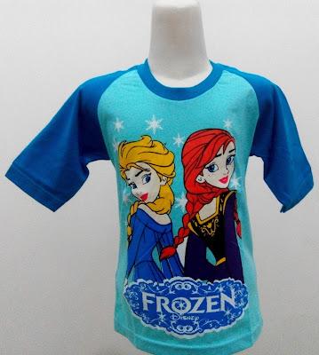 Kaos Raglan Anak Karakter Frozen Elsa Ana Biru
