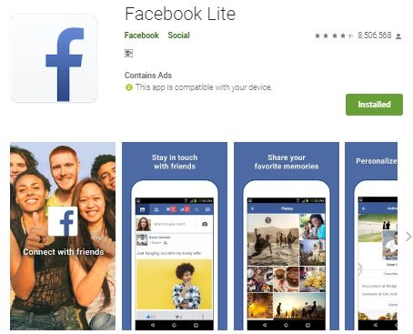 Download facebook lite from play store