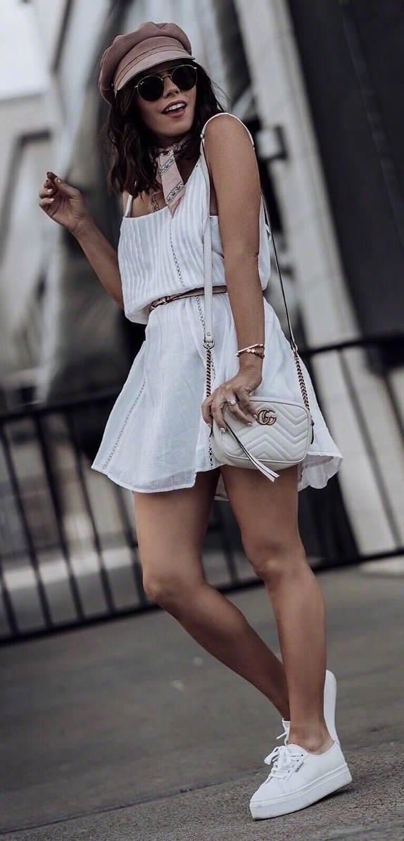 awesome summer outfit_hat + bag + sneakers + white dress