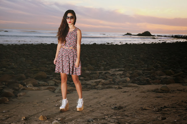 deandri olga, deandri, lucca couture floral dress, floral cut out dress, thrifted floral dress, crossroads trading blogger, zerouv, zerouv blogger, cross my heart sunglasses, los angeles sunset