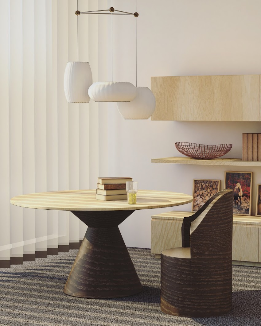 Round Beige and Brown Wooden Table and Chair