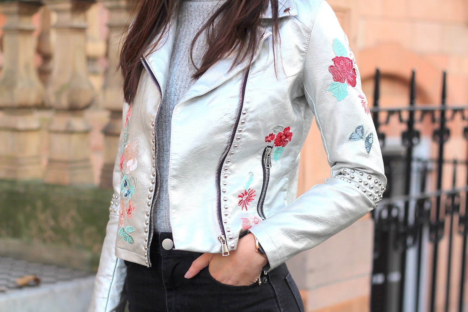 peexo glamorous silver embroidered jacket