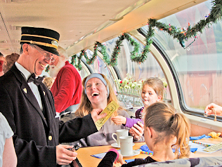 Ticket Check at The Train to Christmas Town - AdirondackFamilyTime.com