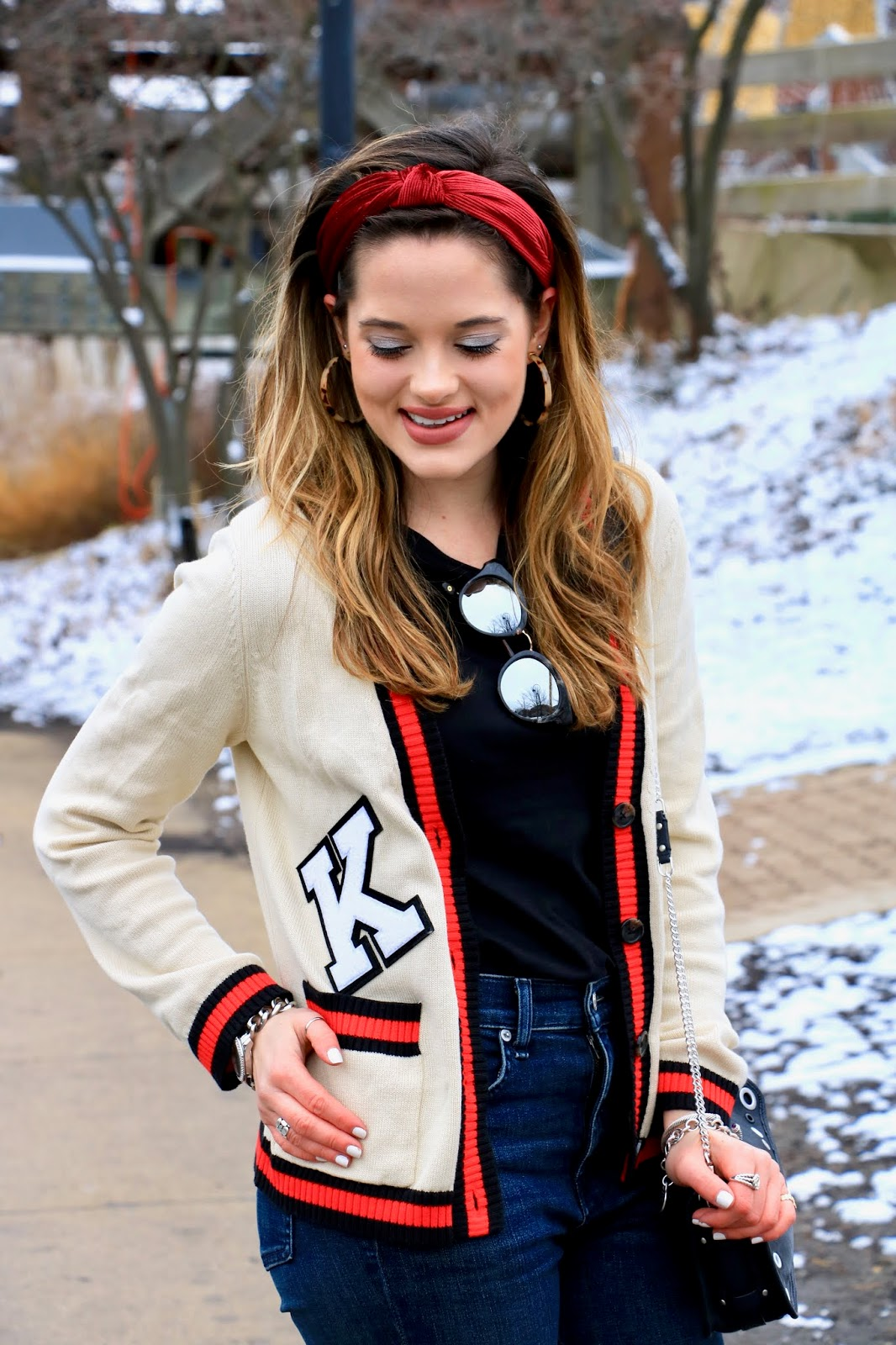 Nyc fashion blogger Kathleen Harper wearing a red knotted headband