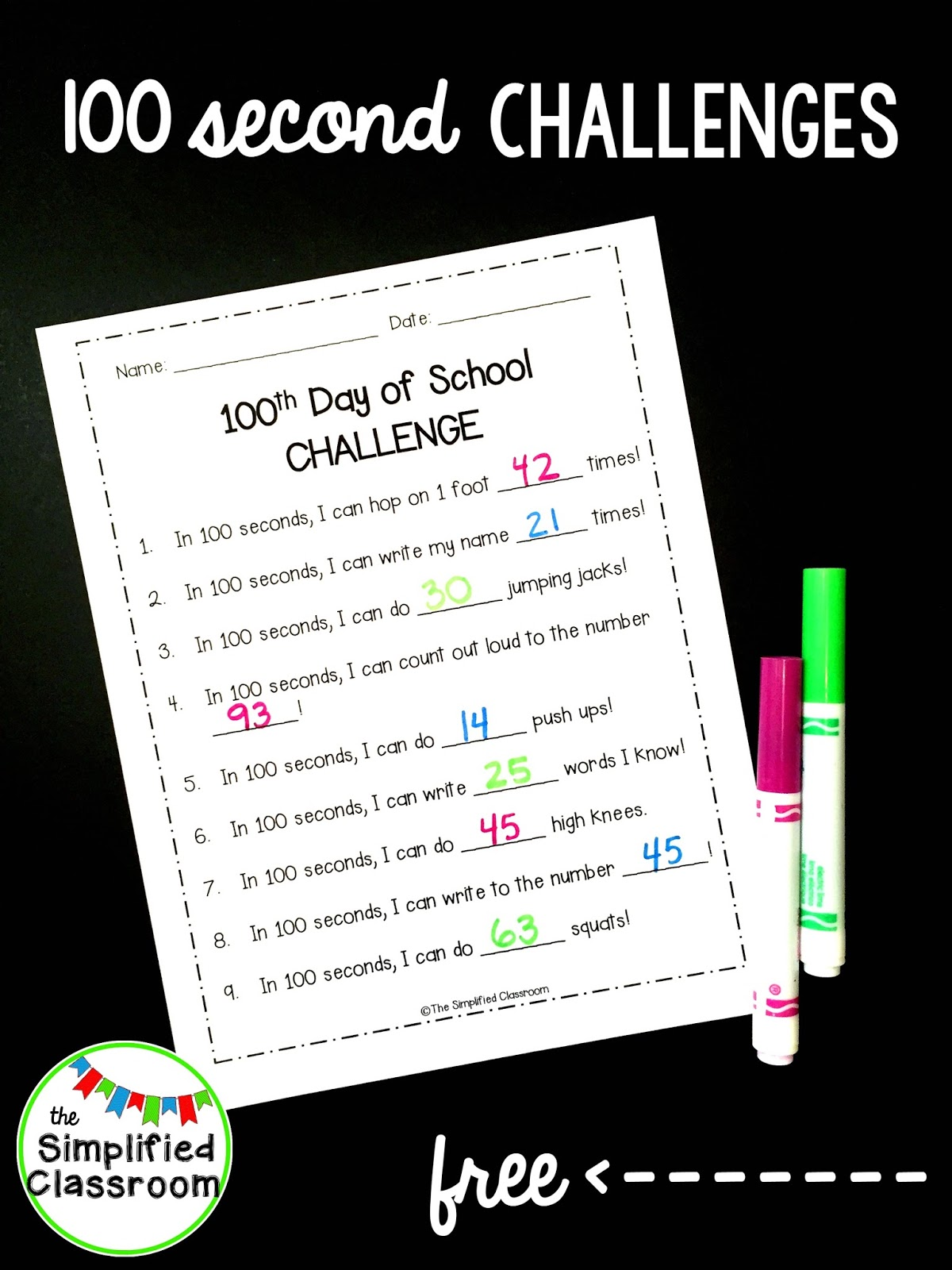 The Simplified Classroom 100th Day Of School Challenge