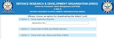 CEPTAM 08 DRDO Admit card 2016 for STA B