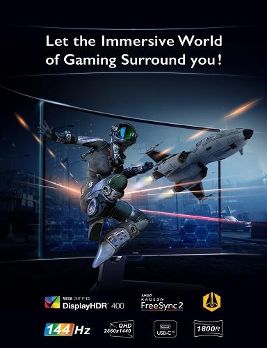 بينكيو تقدم شاشة 32 بوصة بدقة QHD 2560× 1440 بانحناءة بقطر 1800R لتتيح لك خوض تجربة ألعاب ممتعة