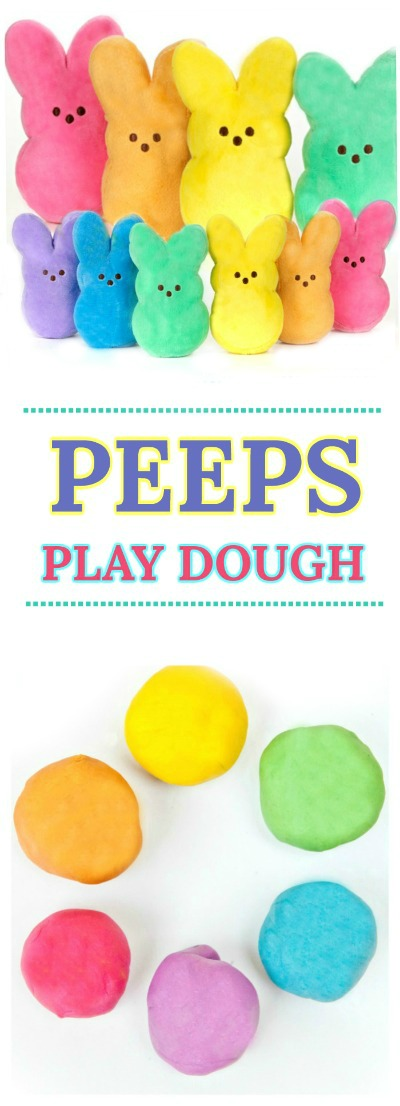 FUN KID PROJECT: TURN CANDY INTO PLAY DOUGH!  {This dough has such a fun texture!  Good luck putting it down} #playdough #playdoughrecipe #peepsplaydough #eastercraftsforkids
