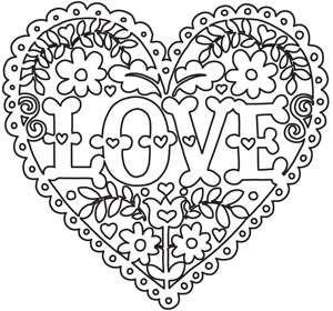 Coloring Page World: Love and Flowers Heart
