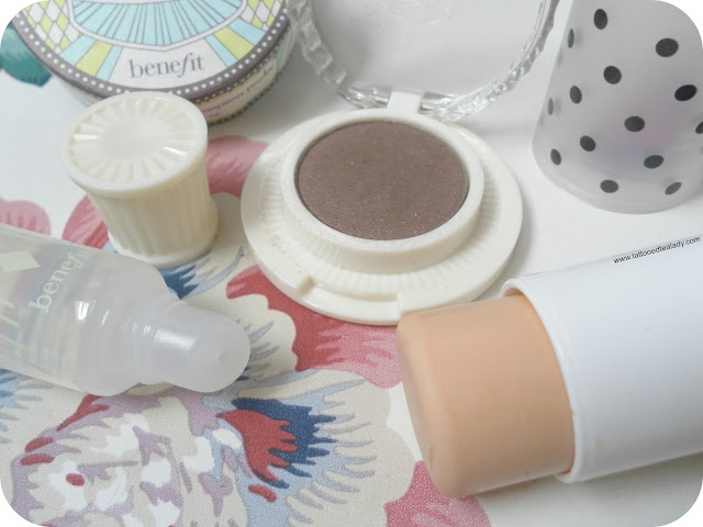 A picture of Benefit Longwear Powder Shadow, Stay Flawless Primer and Ultra Plush Gloss