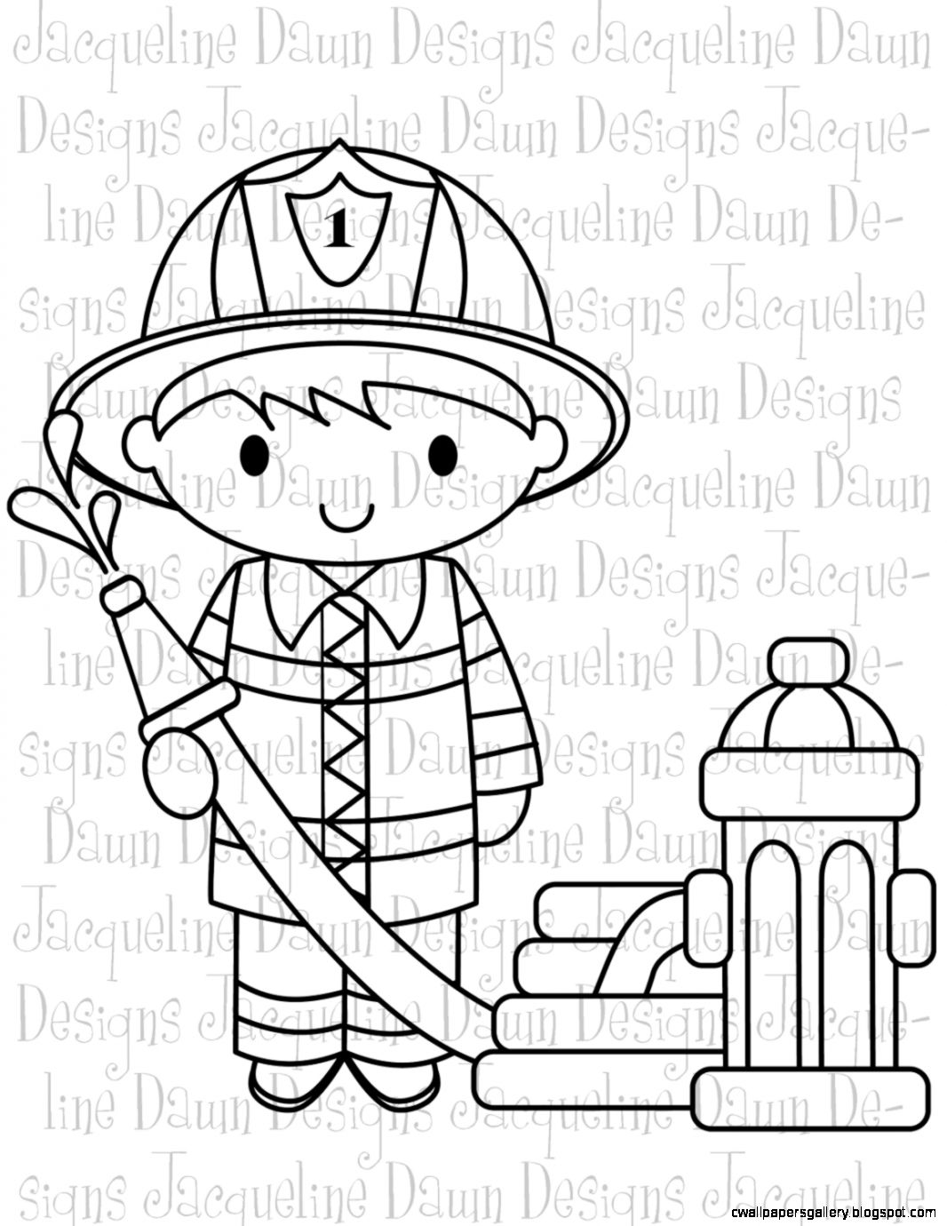 Fire Fighter Clip Art Black And White