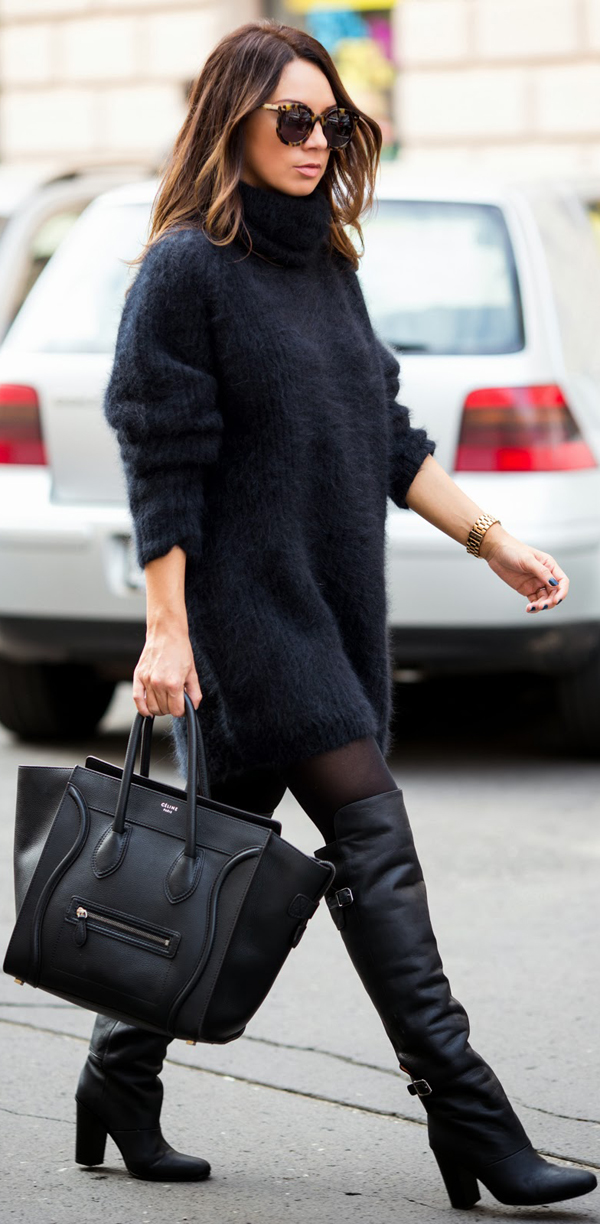 knee-high boots with long sweater