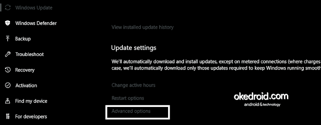 Windows Update Advanced Options Windows 10