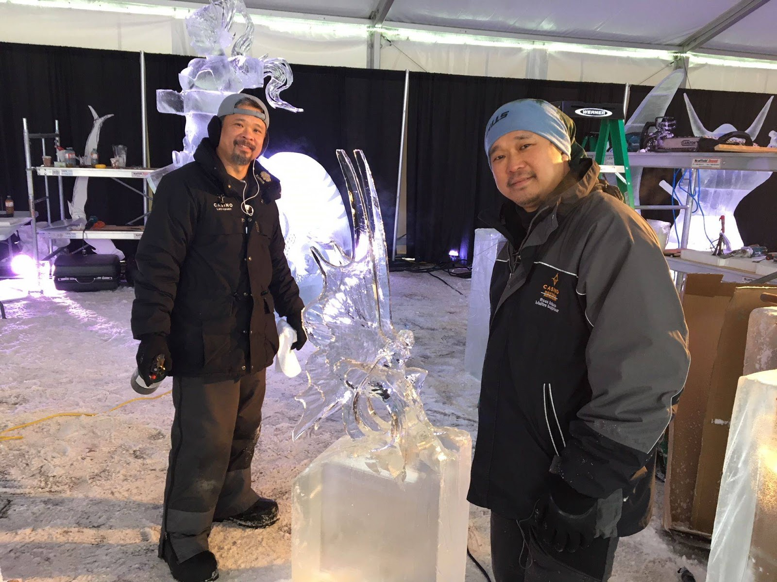Ross and Antonio Baisas snow-sculpting competition Canada