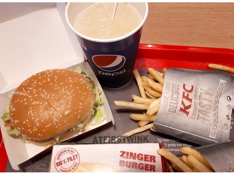 KFC zinger burger meal colonel's lemonade
